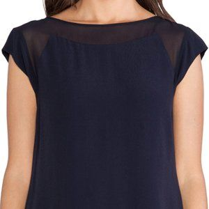 Rebecca Taylor Chiffon Mix Short Sleeve Top, Navy